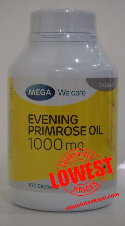Mega Evening primrose oil (EPO) น้ำมัน อีฟนิงพริมโรส 1000 mg 100เม็ด ราคาถูก 420 บาท ส่งฟรี