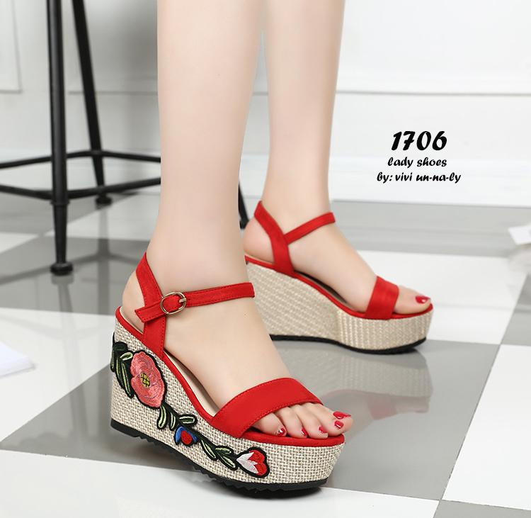 รองเท้าส้นเตารีด Platform GC (สีแดง)