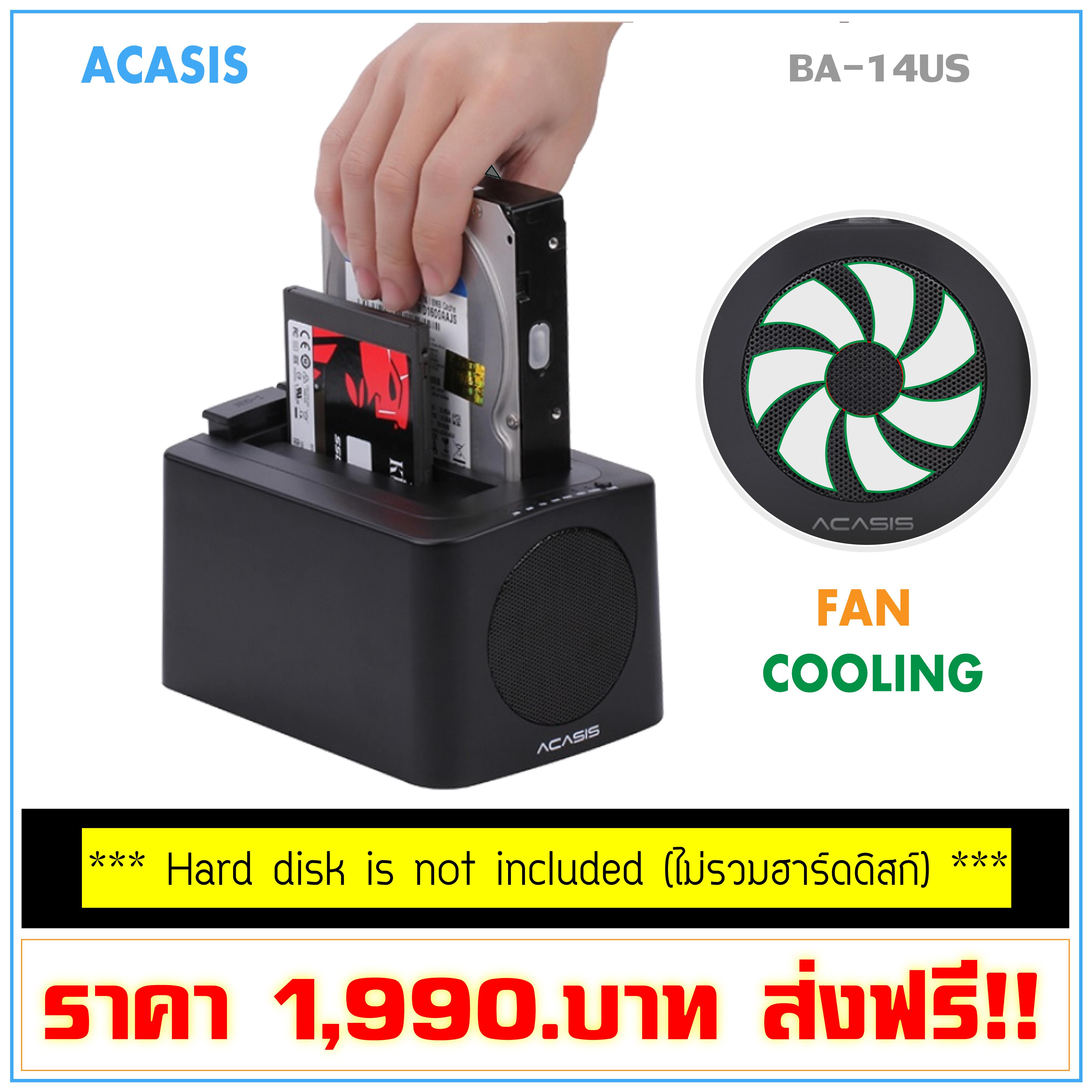 Acasis 2 Bay USB 3.0 to SATA HDD SSD External Dock W/ Fan Offline Cloning Black