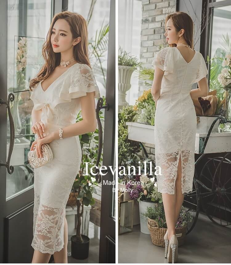 Elegant feminine bow lace Dress