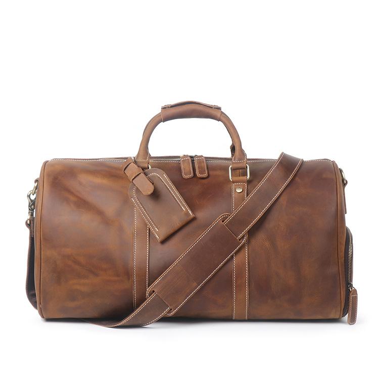RV-7184 กระเป๋าเดินทาง หนังนูบัค สีน้ำตาล