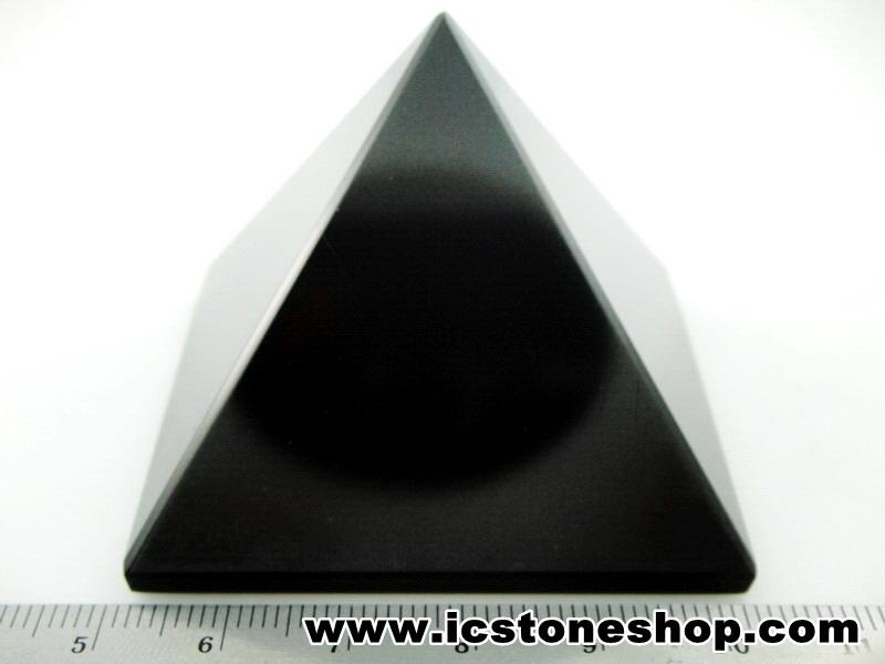 ▽หินทรงพีระมิค-อาเกตสีดำ Black Agate (136g)