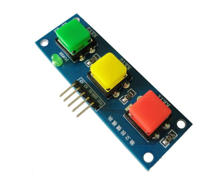 โมดูลสวิทซ์กดติดปล่อยดับ 3 ปุ่ม 3 สี สี่เหลี่ยม สำหรับ Arduino