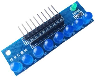 บอร์ดทดลอง LED Module 8ดวง 5mm สีน้ำเงิน