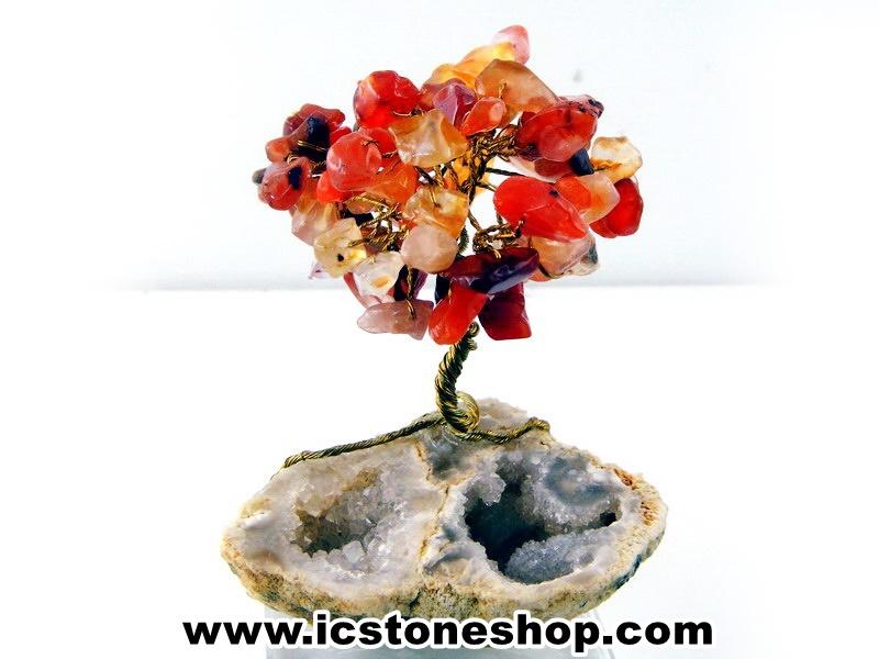 ▽ต้นไม้มงคล หินคาร์เนเลี่ยน-ฐานควอตซ์ ใช้เสริมฮวงจุ้ย โต๊ะทำงาน (150g)