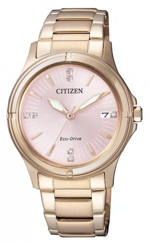 นาฬิกาผู้หญิง Citizen รุ่น FE6053-57W, Eco-Drive Swarovski 50m Pink Dial