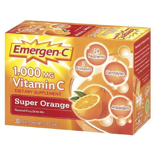 Alacer Emergen-C 1000 mg Vitamin C, Super Orange 30 packets