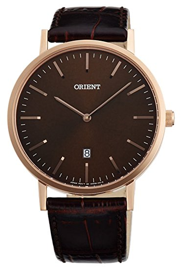 นาฬิกาผู้ชาย Orient รุ่น FGW05001T, Slim Collection Minimalist Leather Strap Quartz Men's Watch
