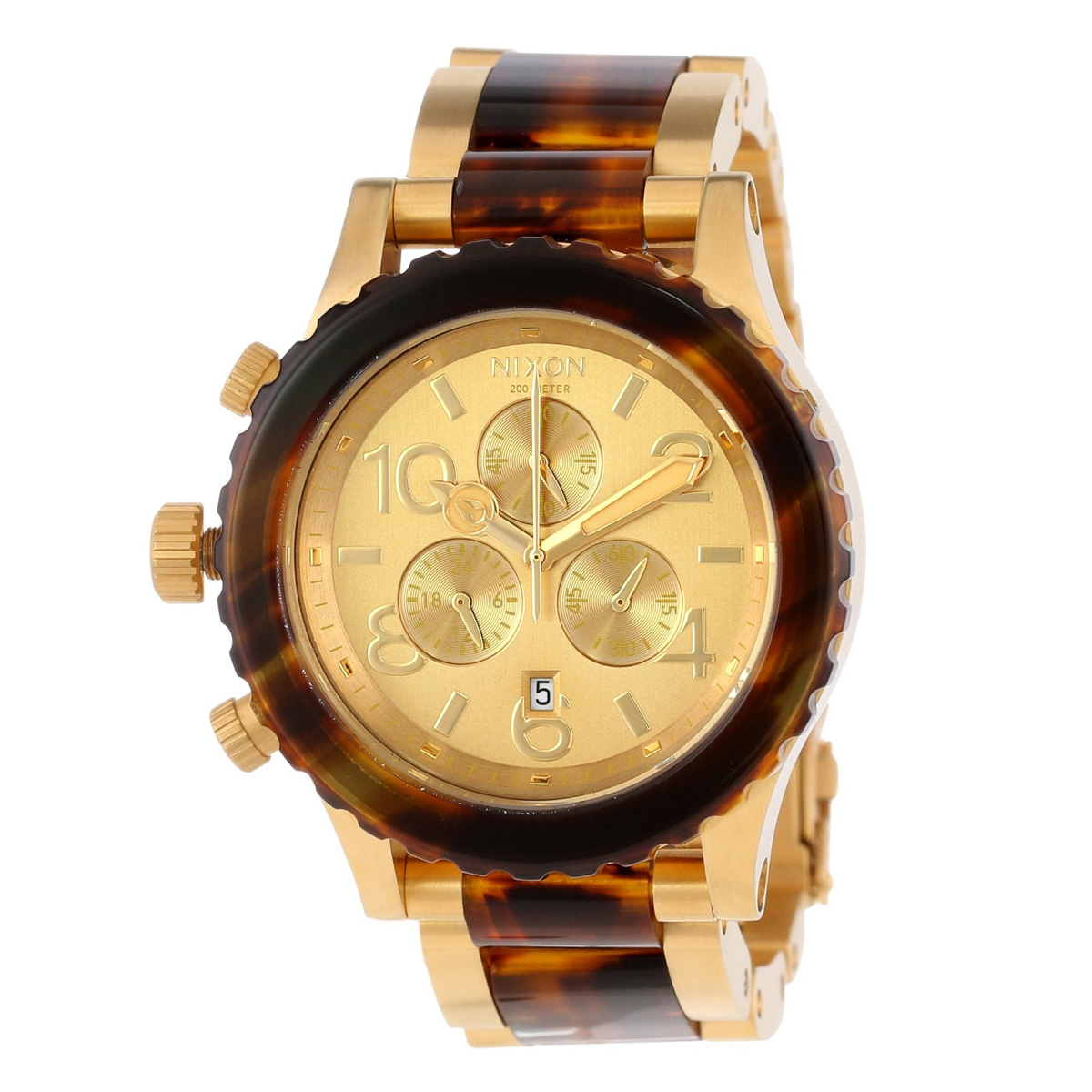 นาฬิกา ชาย-หญิง Nixon รุ่น A037-1424, Unisex Watch 42-20 Chrono Gold tone and Tortoise Quartz Analog
