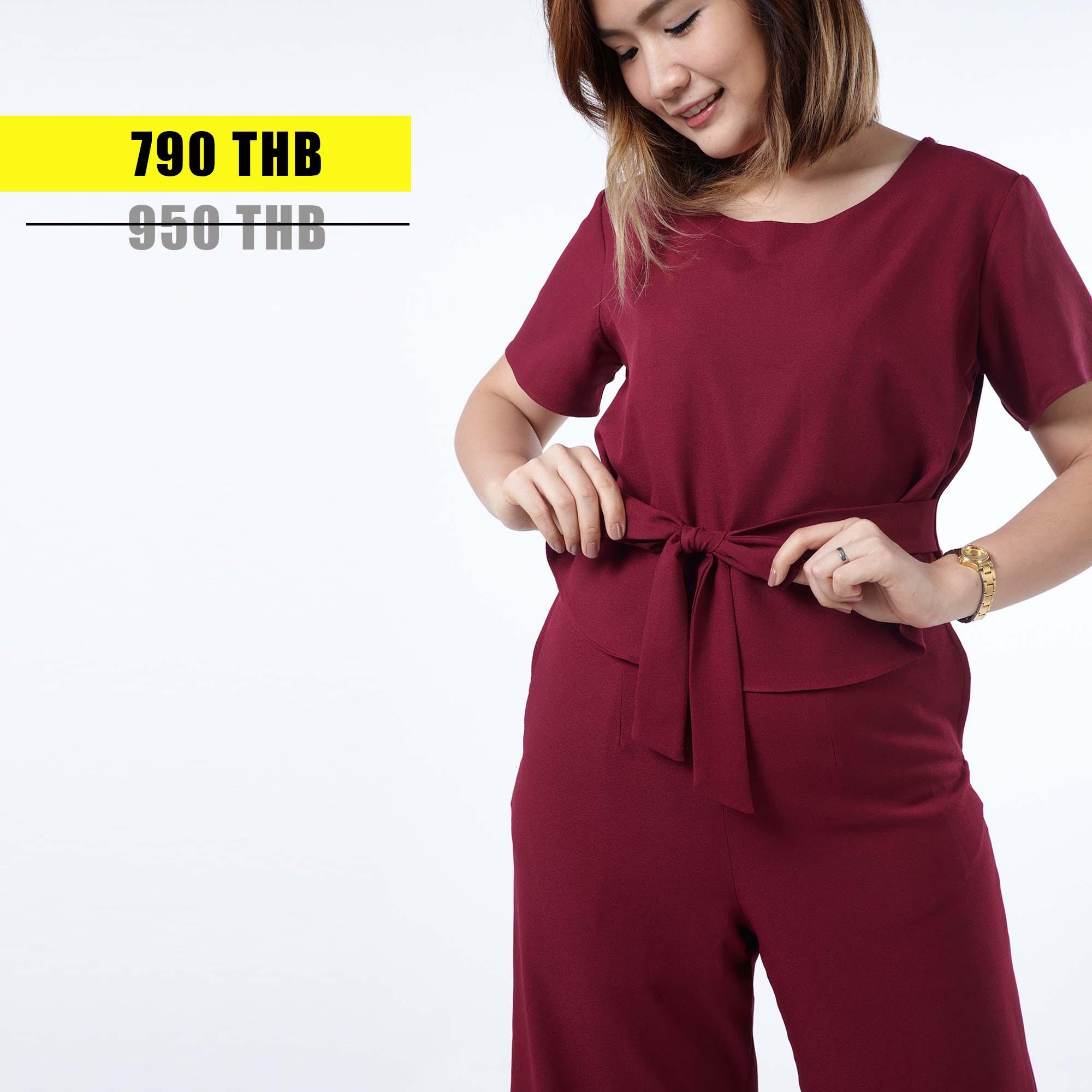 ชุดให้นม Phrimz : Jazzi Breastfeeding Jumpsuit - Deep Red สีแดงเข้ม