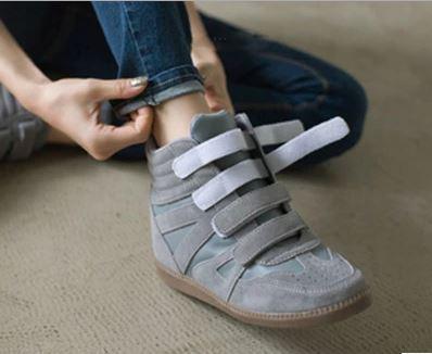 รองเท้าผ้าใบหุ้มข้อVelcroหนังnubuckเกาหลี