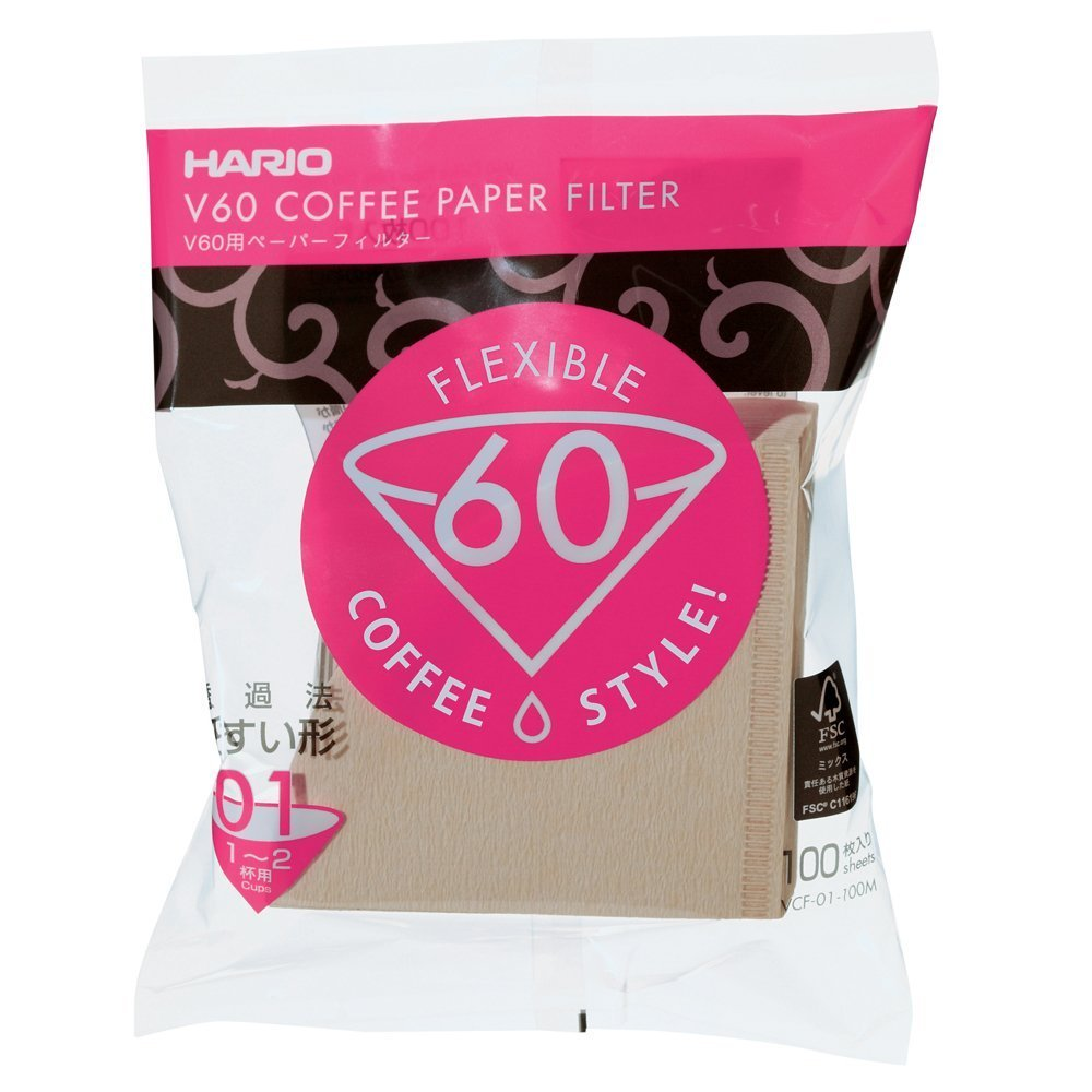 Hario V60 Coffee paper VCF-01-100M กระดาษกรอง สำหรับดริป ขนาด 01 (บรรจุ100 แผ่น)