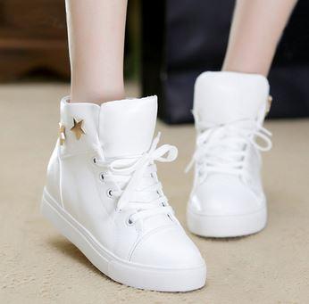 รองเท้าผ้าใบหนัง pu เสริมสูงประดับดาว