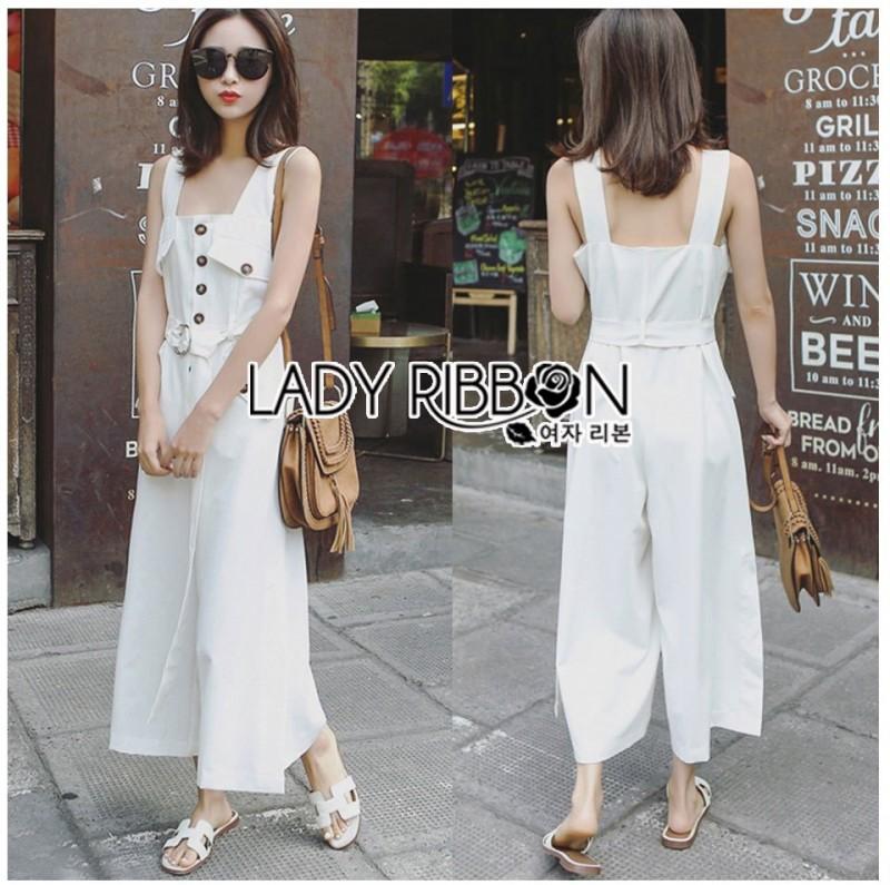 เสื้อผ้าแฟชั่นเกาหลี Lady Ribbon's Made Lady Emma Traveler Minimal Cotton Jumpsuit