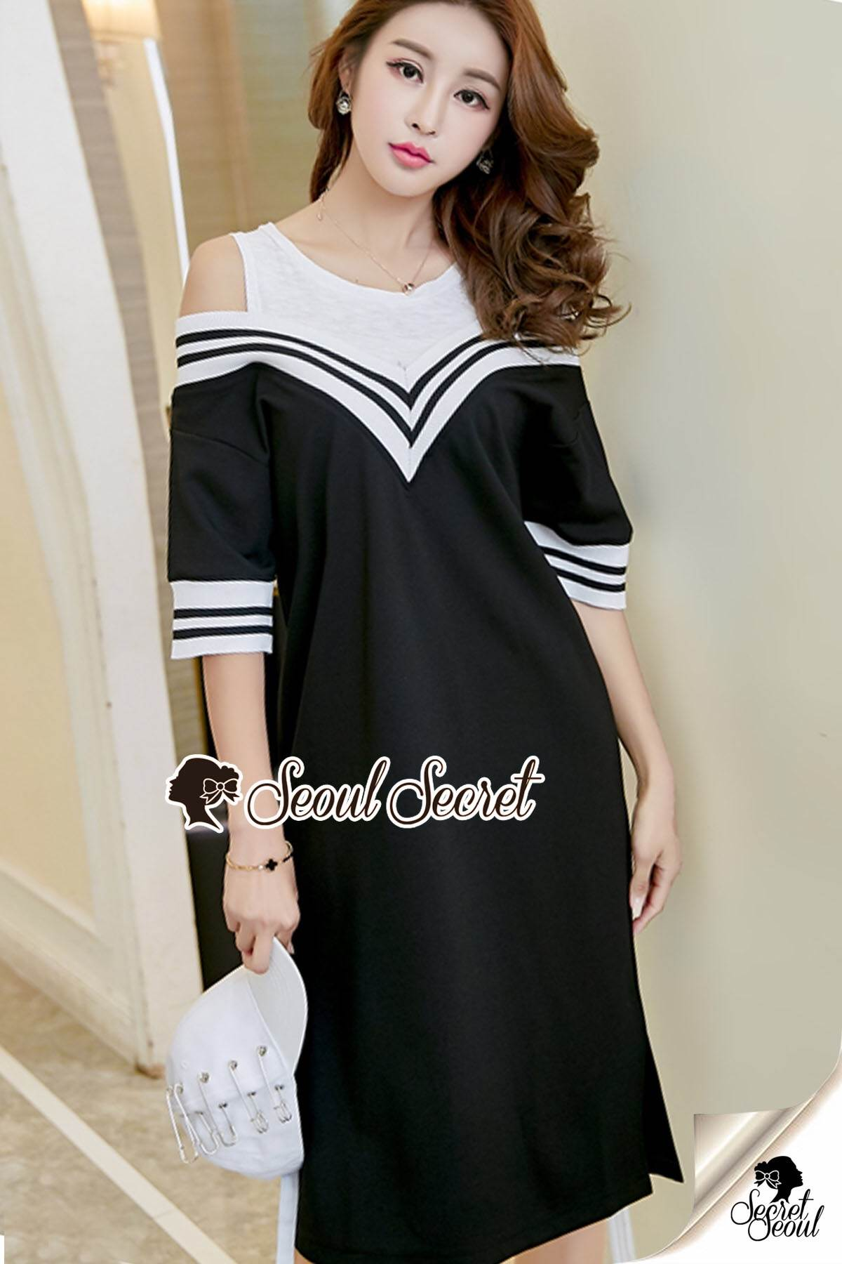 Seoul Secret Say's... Chic Vee Strip Sirt Dress Sport Girl