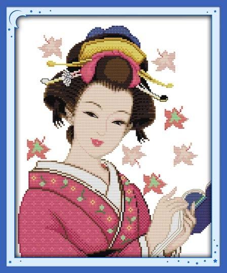ชุดปักครอสติช ลายสาวญี่ปุ่น ขนาด 39*46 ซม.ผ้าครอสติช 11CTพิมพ์ลายปักบนผ้า ไหมคอตตอน 25 สี ผังลาย เข็ม