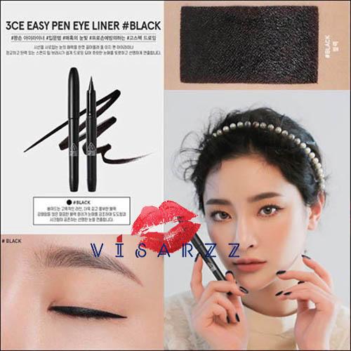 3CE Easy Pen Eye Liner # Black จะเขียนหนาเขียนบางก็คอนโทลได้ง่าย ติดทนแต่ทำความสะอาดง่าย