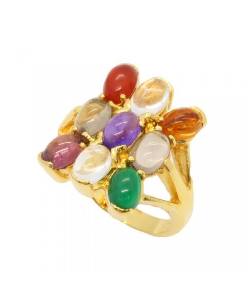 แหวนพลอยนพเก้า หุ้มทองแท้