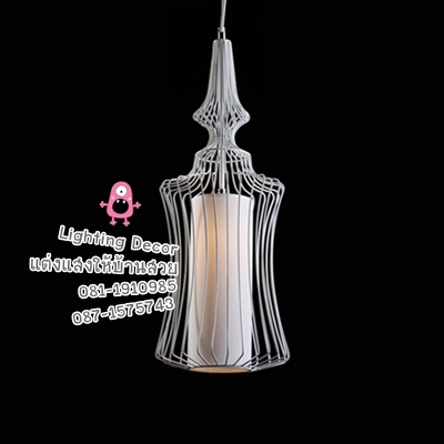 โคมไฟแบบขวด โคมไฟเส้นลวดดัด สีขาว
