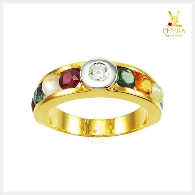 แหวนนพเก้า ทองแท้ เพชรแท้ ตามตำราโบราณ (สอบถามราคา)