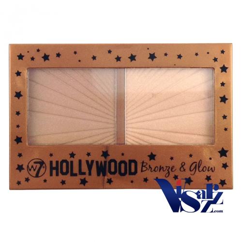 W7 Hollywood Bronze & Glow 13g พาเลตบรอนเซอร์และไฮไลท์ ตลับเดียวครบ เนื้อชิมเมอร์ ประกายวิ้งๆ หน้าเงาๆ ฉ่ำน้ำ ดูโกล์วๆสุขภาพดี เบลนดิ้งแก้ไขรูปหน้าด้วยเฉดดิ้ง ดึงจุดเด่นด้วยไฮไลท์ ช่วยปรับให้ใบหน้าดูมีมิติ เรียวสวย