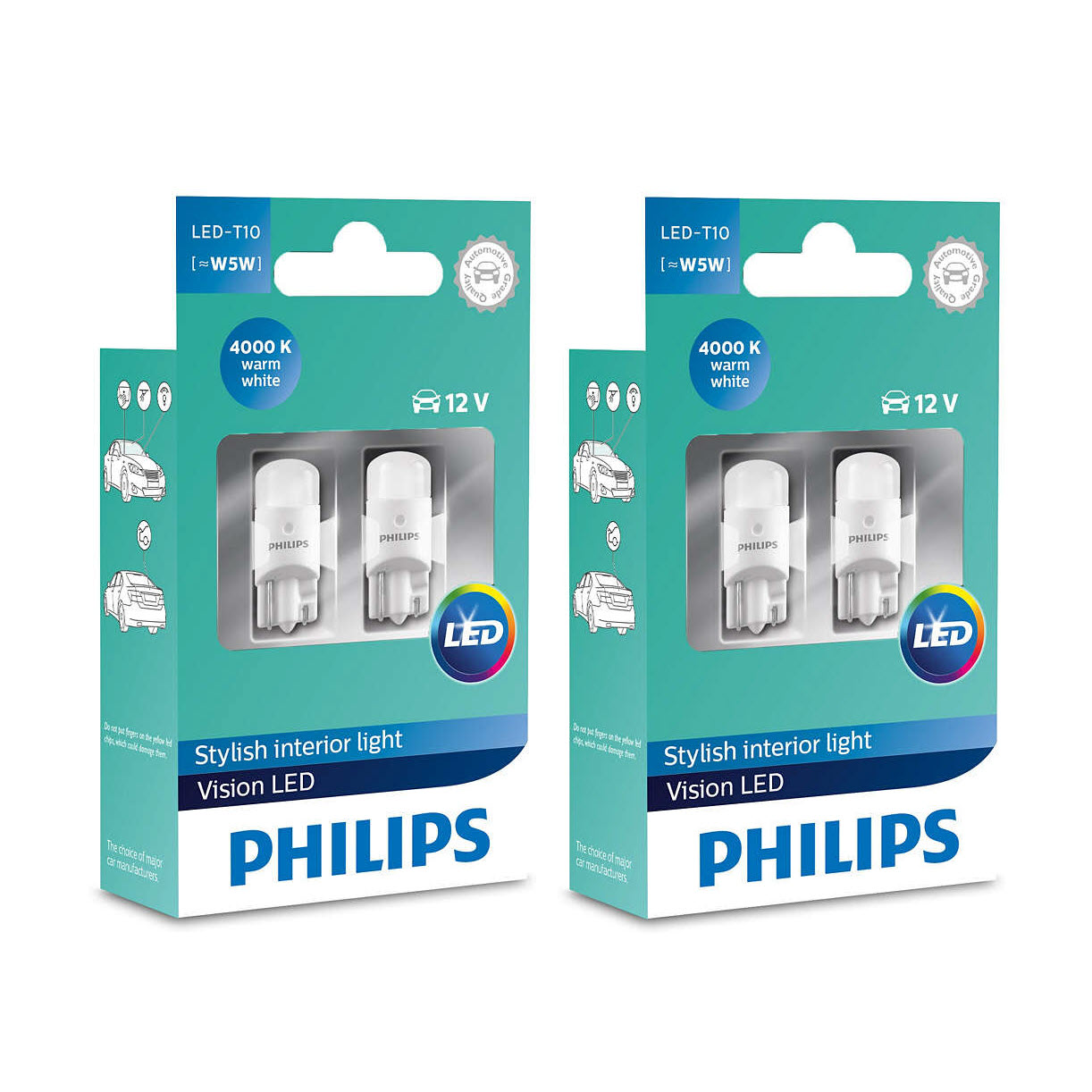 2x T10 Philips Vision LED 4000K (4 bulbs)