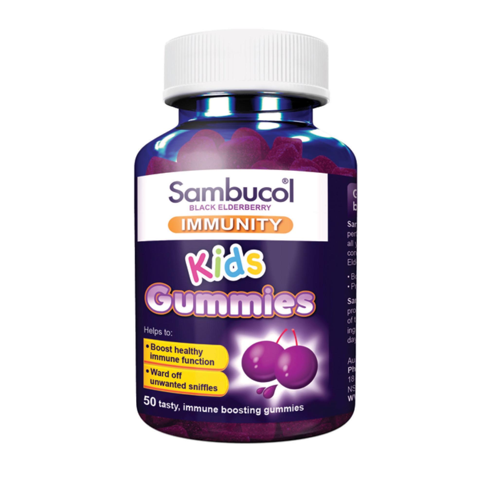 วิตามินเสริมสร้างภูมิคุ้มกันแบบเคี้ยวหนึบแสนอร่อย Sambucol Black Elderberry Immunity - Kids Gummies