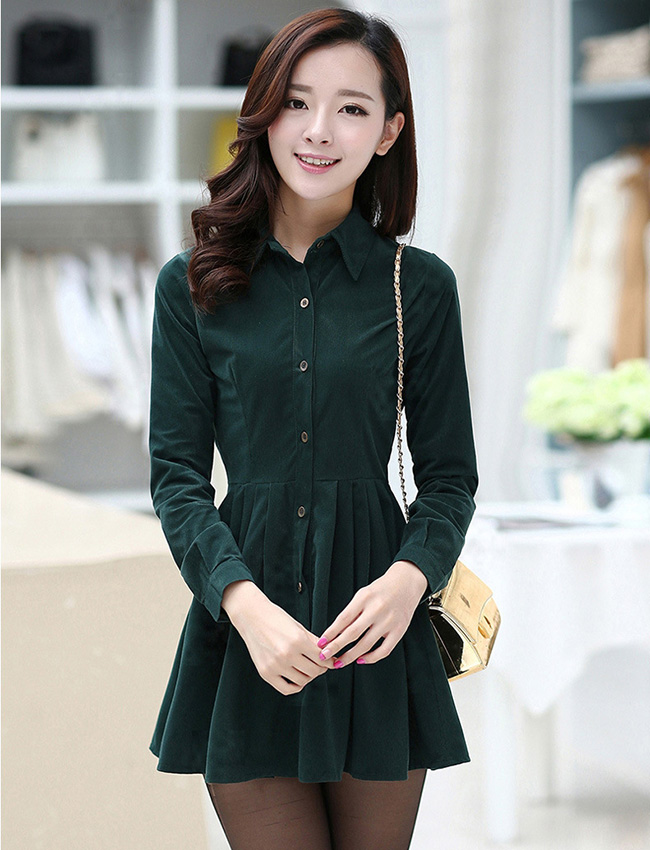 ชุดเดรสสั้นสีเขียว ผ้าคอลตอล คอปกเชิ้ต แขนยาว กระดุมผ่าหน้า น่ารักแฟชั่นเกาหลี