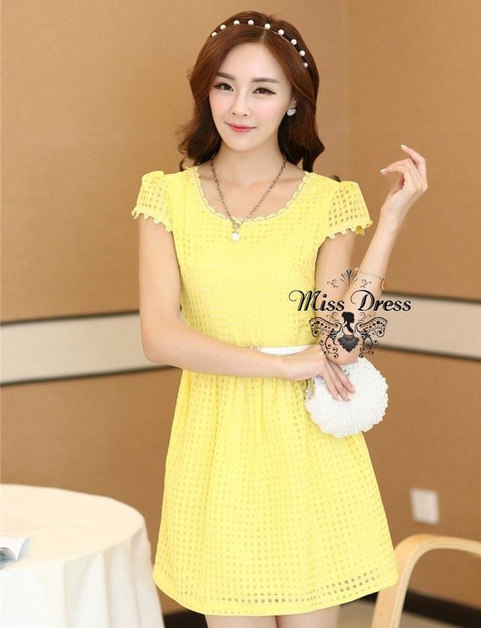 ชุดเดรสทำงานสวยหวานแนวเกาหลี สีเหลือง มีแขน พร้อมเข็มขัดเข้าชุดสุดน่ารัก