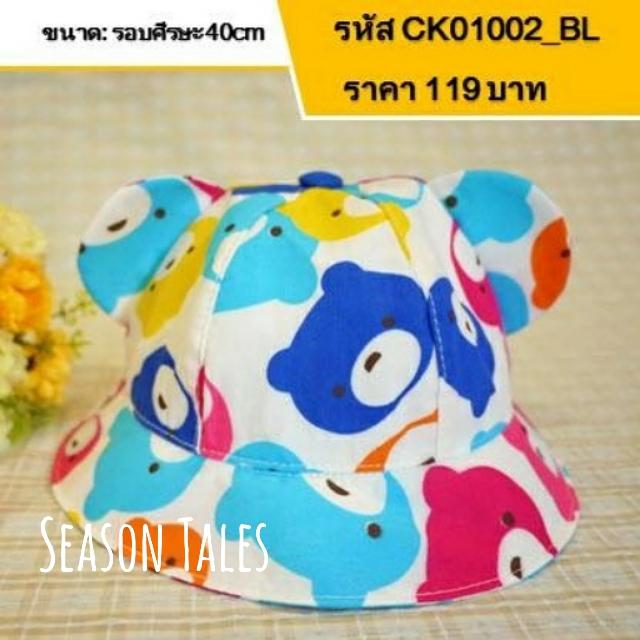 หมวกเด็กปีกรอบ ลายหน้าหมี มีหู สีฟ้า