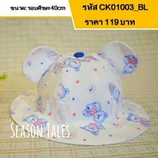 หมวกเด็กปีกรอบ มีหู สีฟ้าอ่อน