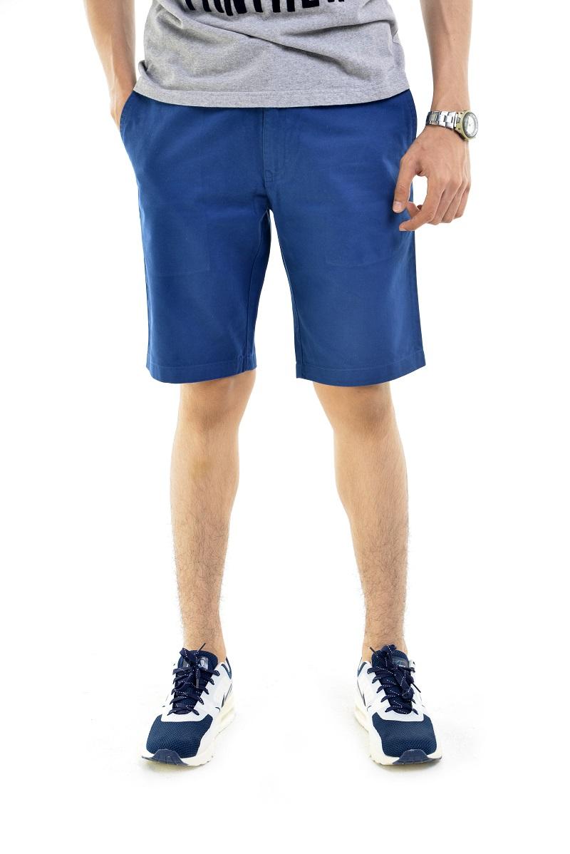 กางเกงขาสั้นผู้ชายสีกรมท่า ผ้าฟอกนิ่ม