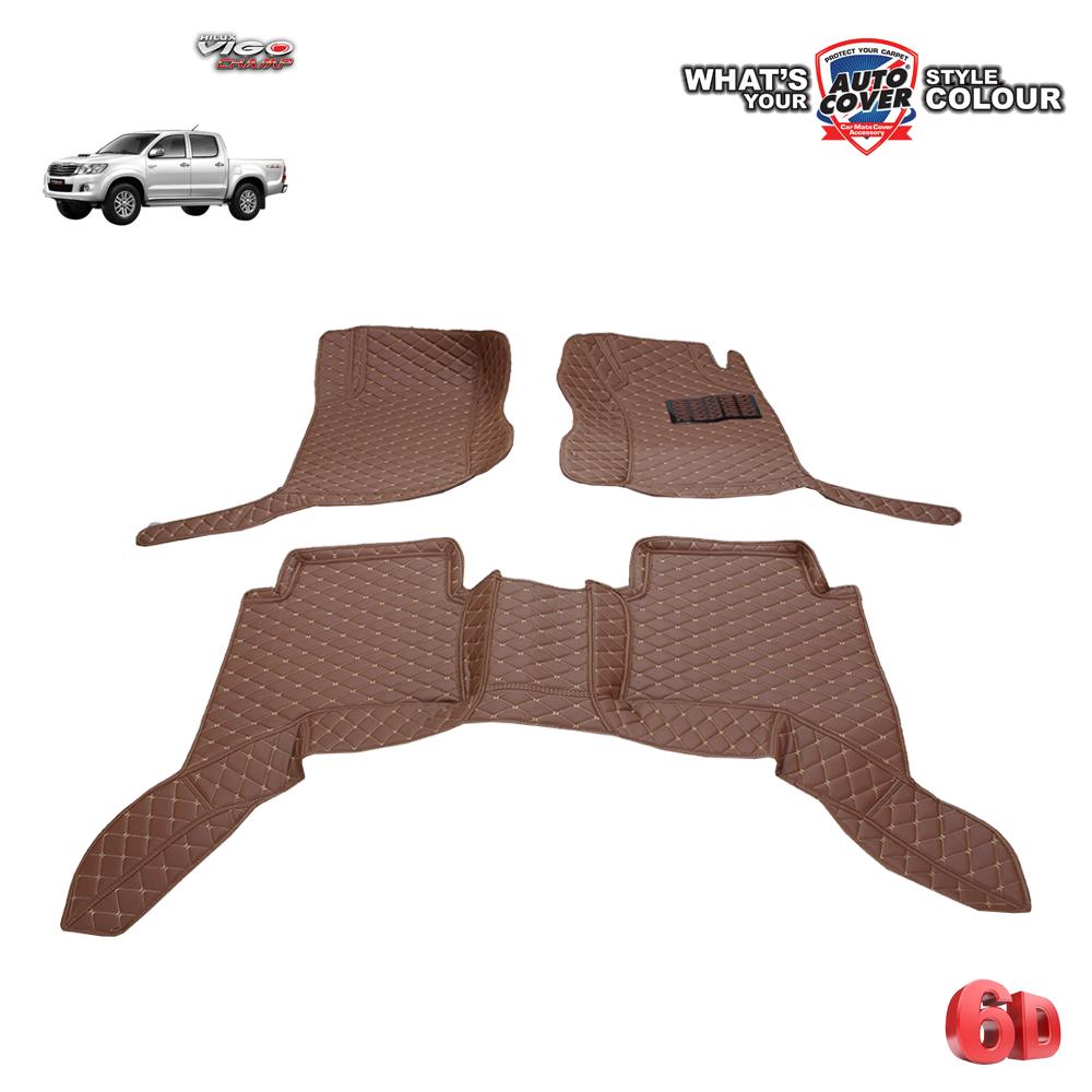 พรมเข้ารูป 6 D Leather Car Mat จำนวน 3 ชิ้น TOYOTA VIGO 4 DOOR 2005-2015