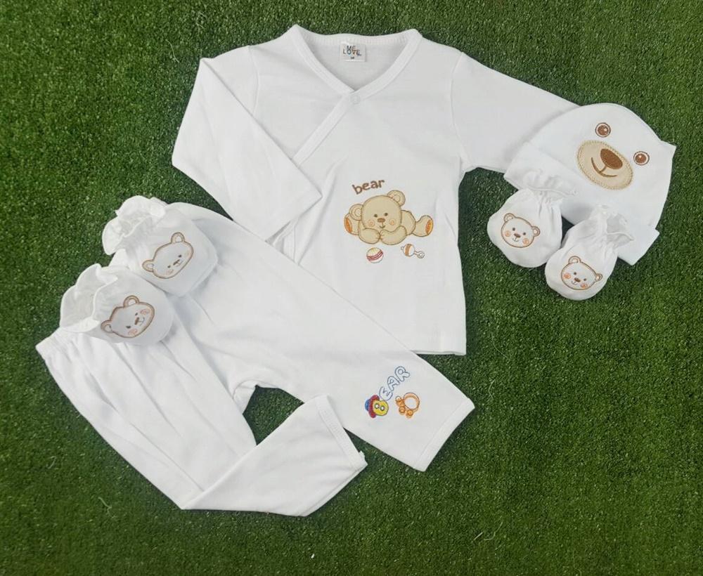 เซตผูกหน้ายาว 4 ชิ้น ผ้า Interlock Cotton ( 0-3 เดือน)