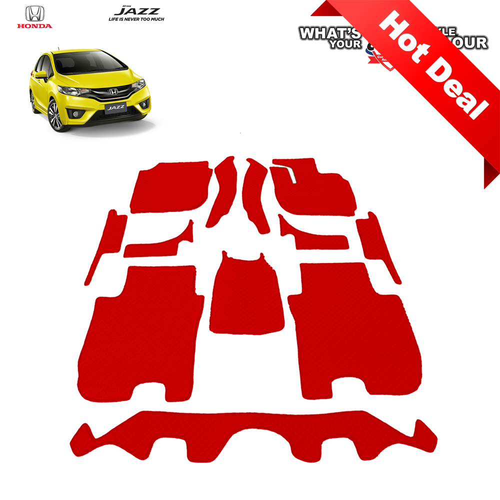 สินค้า PROMOTION!! Honda All New JAZZ (GK) 2014-2019 พรมกระดุม Super Save ชุด Full จำนวน 12 ชิ้น สีแดง
