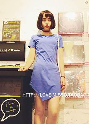 (SALE) เดรสแฟชั่น ผ้าฝ้าย สีน้ำเงิน