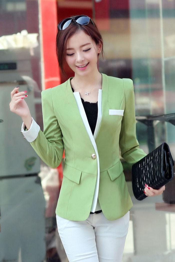 เสื้อสูทแฟชั่น เสื้อสูทผู้หญิง สีเขียว แขนยาว แต่งแขนพับ