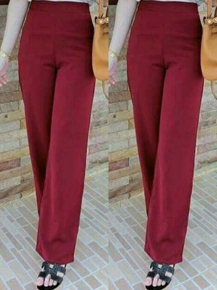 กางเกงขายาวสีแดง ทรงกระบอก ผ้าฮานาโกะ เอวสูง