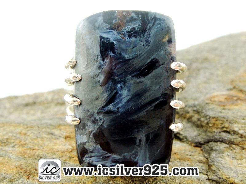 ▽ปีเตอร์ไซต์สีน้ำเงิน (Blue Pietersite) แหวนเงินแท้ 925 (แหวนเบอร์ : 53)