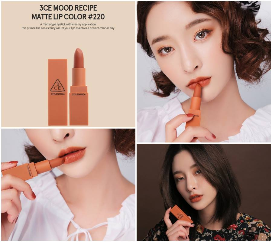 3CE Mood Recipe Matte Lip Color #220 Hit Me Up น้ำตาลส้มอิฐ