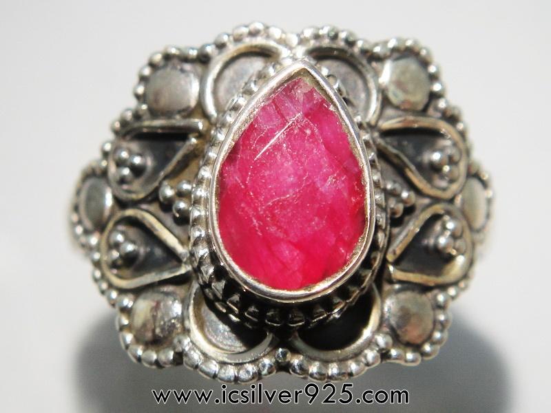 ▽ทับทิม Ruby- แหวนเงินแท้ 925 (แหวนเบอร์ : 53)
