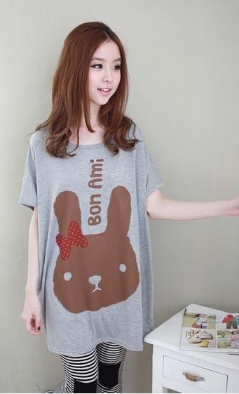 ชุดคลุมท้อง A15 เสื้อยืดคลุมท้อง (กระต่ายสีเทา) ราคาส่ง 250 บาท