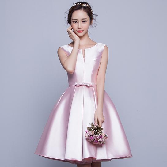 ชุดเดรสออกงาน ชุดไปงานแต่งงานสีชมพู แขนกุด ผ้าไหมอิตาลี สวยหวาน เรียบหรู