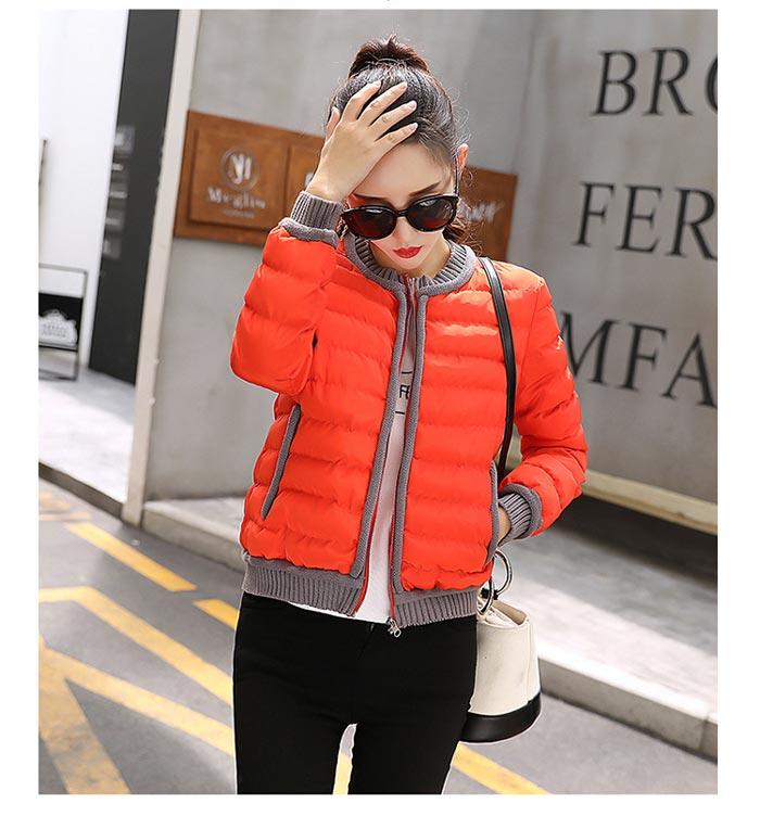 เสื้อกันหนาวผู้หญิงแฟชั่นเกาหลี สีส้ม แจ็คเก็ตกันหนาวนุ่มๆ จั้มปลายแขนและชายเสื้อ