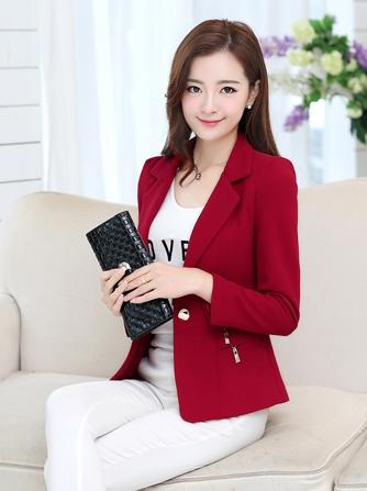 เสื้อสูทแฟชั่น เสื้อสูทผู้หญิง สีแดง แขนยาว แต่งซิปตรงกระเป๋า