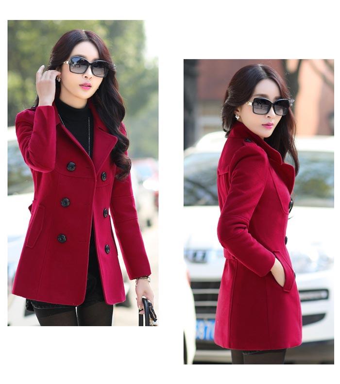 เสื้อโค้ทกันหนาวผู้หญิง สีไวน์แดง ตัวสั้น คลุมสะโพก ใส่เที่ยวต่างประเทศสวยๆ