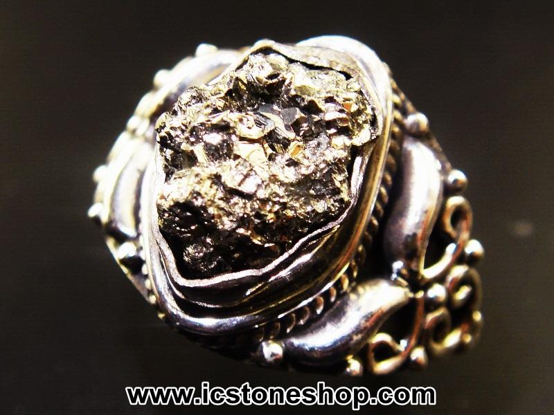 ▽ไพไรต์ (Pyrite)จากเปรู-แหวนเงินแท้ 925 (แหวนเบอร์ : 52 , 4.5g)