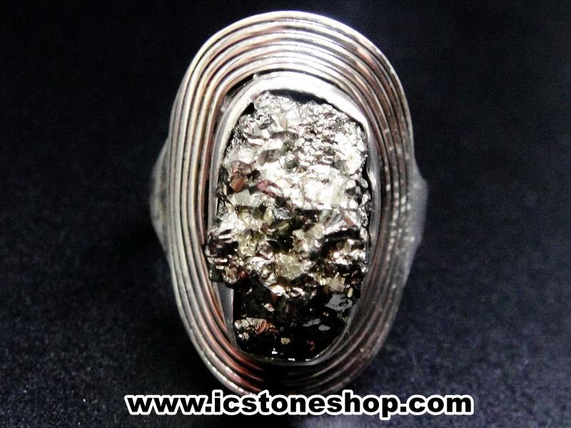ไพไรต์ (Pyrite)จากเปรู-แหวนเงินแท้ 925 (แหวนเบอร์ : 55 , 7.9g)