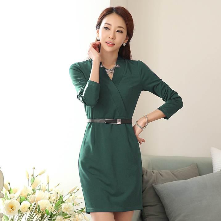 ชุดกระโปรงทำงานเกาหลี สีเขียว แขนยาว