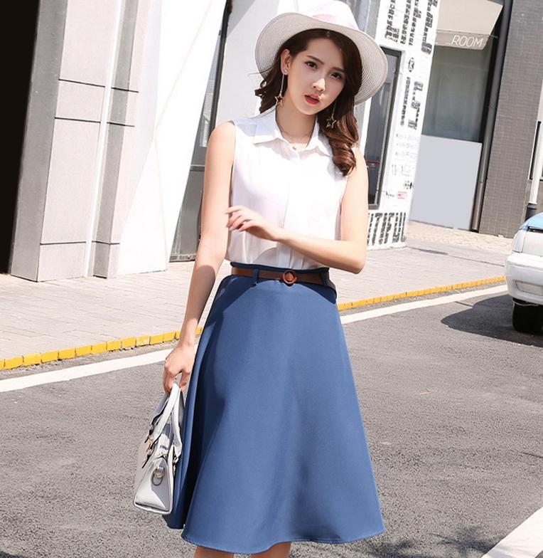 กระโปรงสั้นสีฟ้า ทรงบานสวิง ซิปหลัง ผ้าฮานาโกะ สไตล์สาวทำงานออฟฟิศ